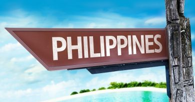 Philippines wooden sign with a beach on background